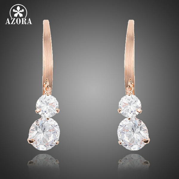 AZORA Unique Design Rose Gold Color Dangle with 2pcs Clear Cubic Zirconia Drop Earrings  ...