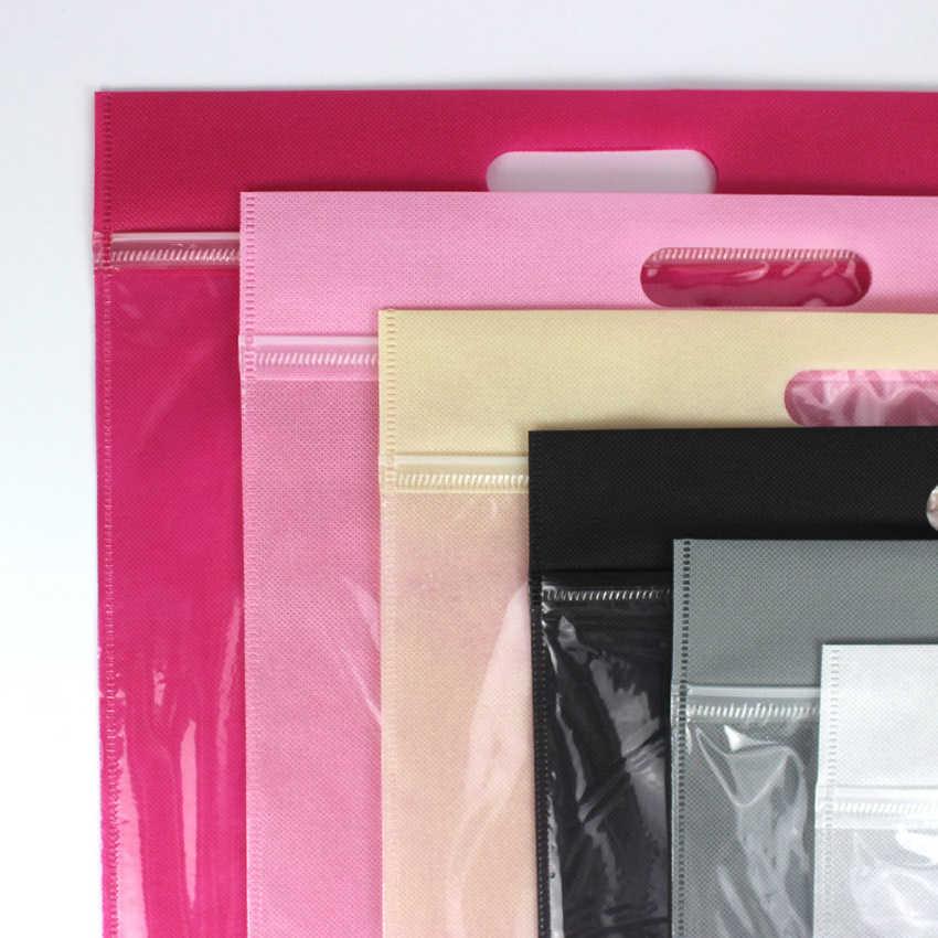 50 teile/los alle größen 20/25/30/35/40cm + hand loop-6colors Vlies zipper Geschenk reise transparente handtasche kleidung verpackung taschen