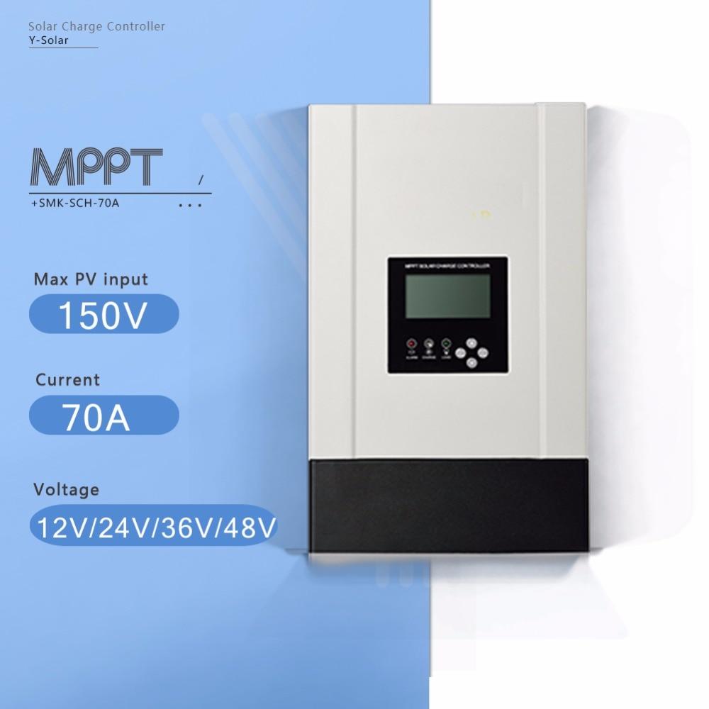 70A MPPT Solar Panel Battery Charge Regulator 12V 24V 36V 48V Auto Solar Controller  with Heatsink Cooling and High Eficiency