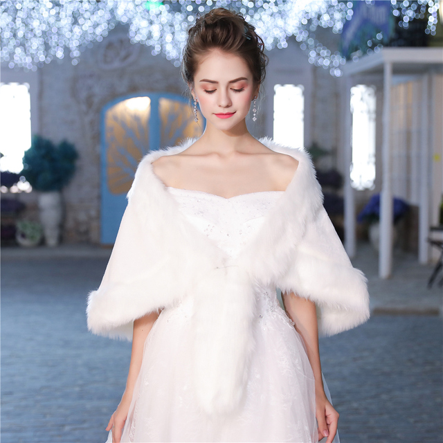 971cf08d65 Fashion Women Faux Fur Shawl Sleeveless Wrap Winter Wedding Evening Dress Cover  Up Cape Bridal Bridesmaids Stole Handmade