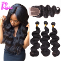 7A Unprocessed Virgin Brazilian Hair With Closure,Hair Bundles With Lace Closures 4 pcs Lot Brazilian Body Wave With Closure