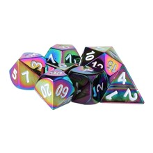 Alta Qualidade 7 Pcs Rainbow Metal Poliédrico Role Playing Game Dice DND RPG MTG(China)