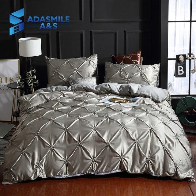 Роскошные Твердые удобное одеяло крышка взрослых кровать льняное постельное белье белый/серый покрывало наволочка США Twin набор пододеяльников для пуховых одеял