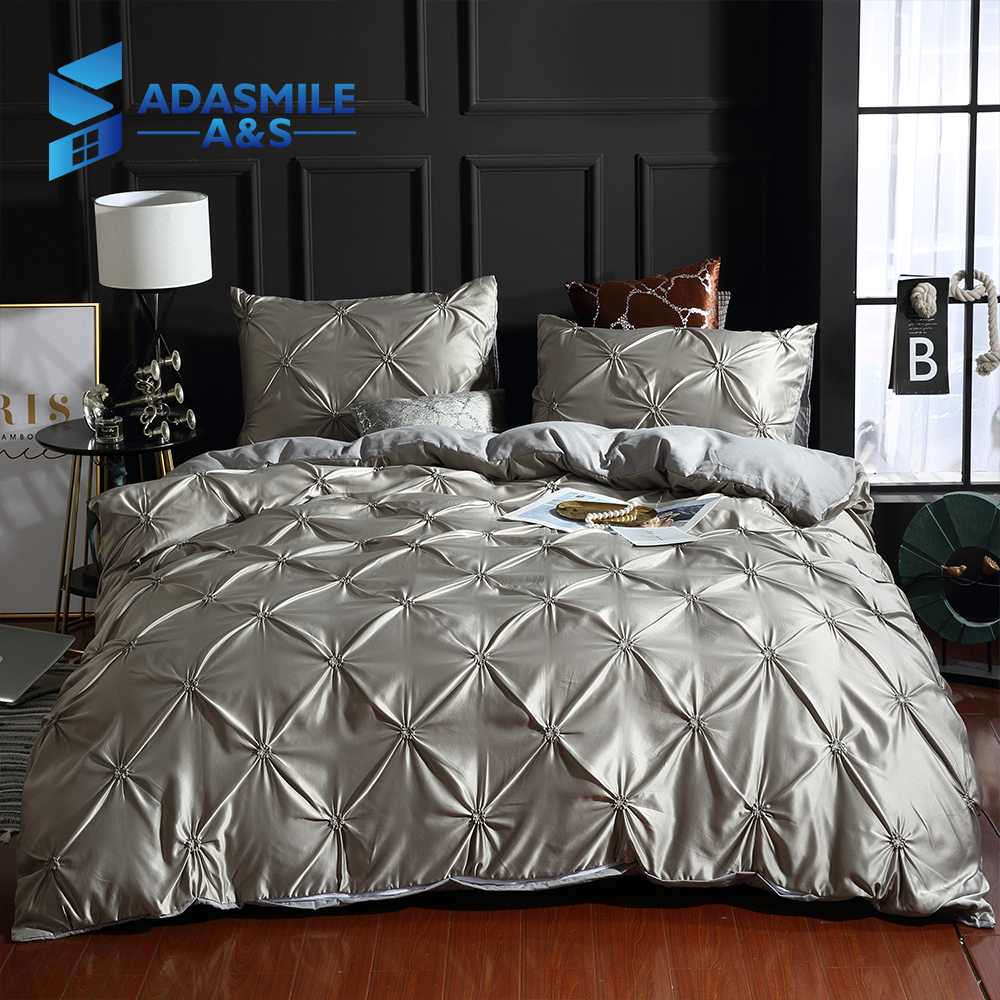 Luxury Solid Faux Silky Comfortable Quilt Cover Adult Bedding Linens White/Gray Bed Cover Pillowcase CN Twin Bed Duvet Cover Set