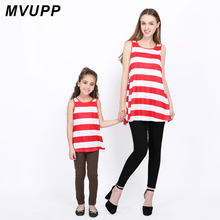 MVUPP family matching outfits Summer vest top sleeveless blouse Big bow mommy and me clothes family look mom and girl flag day(China)