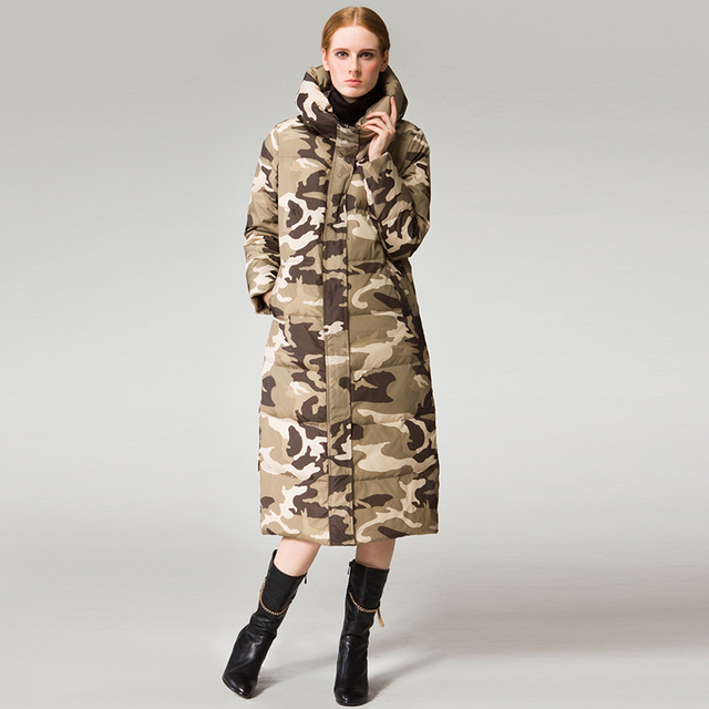 Cheap Long Print Hooded Coat Slim Camouflage Winter Jacket Women Parkas Zipper Button Pockets Snow Warm Female Clothing 2016 Plus Size