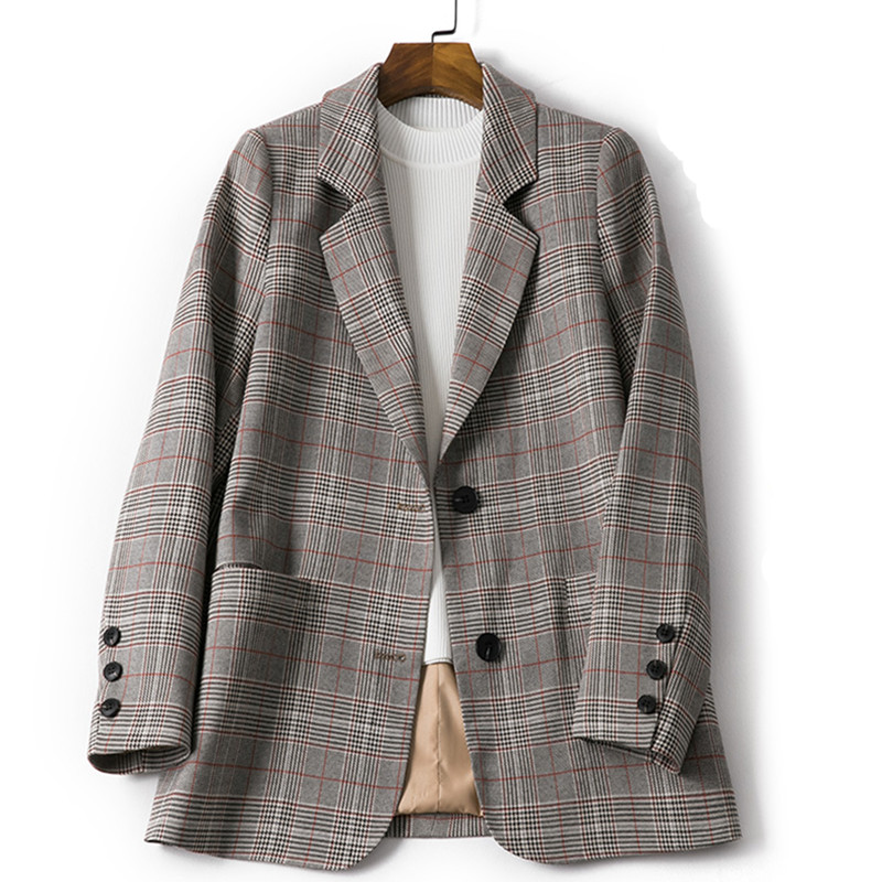 Vintage Single Breasted Office Ladies Plaid Blazer Long Sleeve Loose Houndstooth Suit Coat Jacket Pockets Women Blazers Female 2