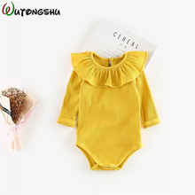 Japan Style Baby Girls Bodysuits Spring Winter Baby Lotus Leaf Collar Climbing Suit Baby Bodysuits Baby Girl Clothes Body Suit