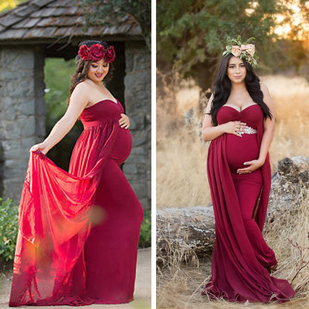 Fashion Maternity Photography Props Maternity Gown Maternity Dress For Photo Shoot Pregnant Dress Clothes For Pregnant Women cartoon bear fashion maternity suit for pregnant women with high quality maternity clothes