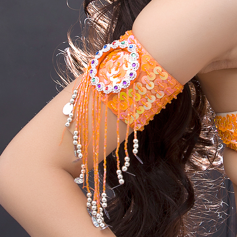 12 Colors Bellydance Wear Oriental Dance Costume Armband Adjustable Armwear Sequins Belly Dance Accessory (1 Piece Only)