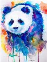 Painted Panda Embroidery DIY Diamond Cross Stitch Completely Inlaid Round Diamond 5D Embroidery Icon Home Decoration