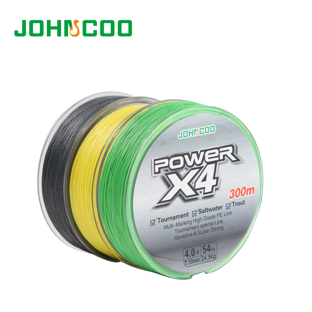 JOHNCOO 4 Braided Fishing line Wire 300 Meters 0.6-8 size for Trout Super Strong for Saltwater Tournament Grade Line