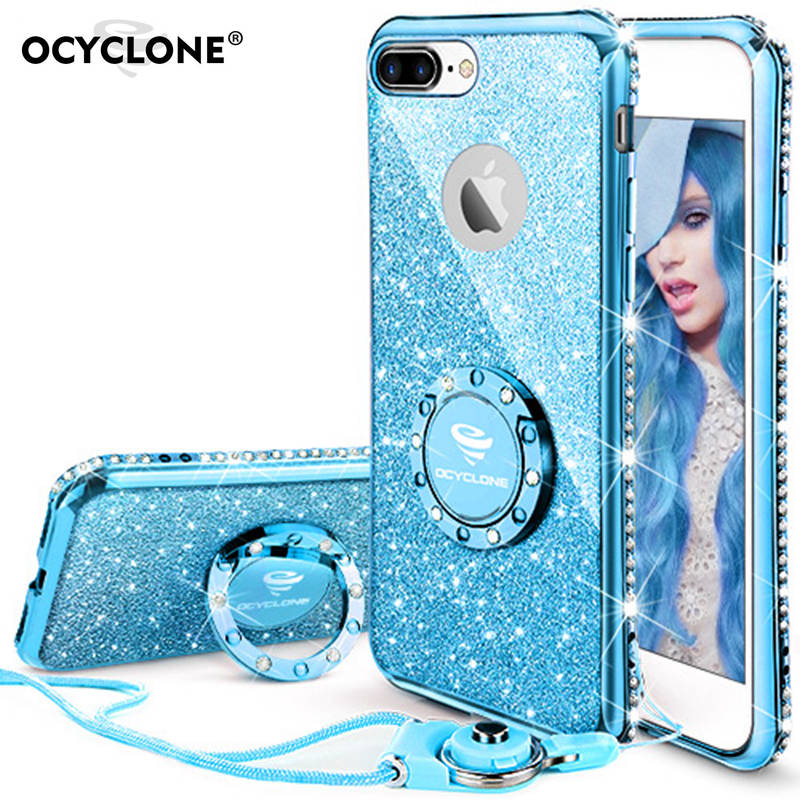 Cute Case For iphone 7Plus case anti knock Glitter 360 Degree Kickstand Luxury Apple Iphone 7plus Case Bling Diamond Ring Case in Rhinestone Cases from Cellphones Telecommunications