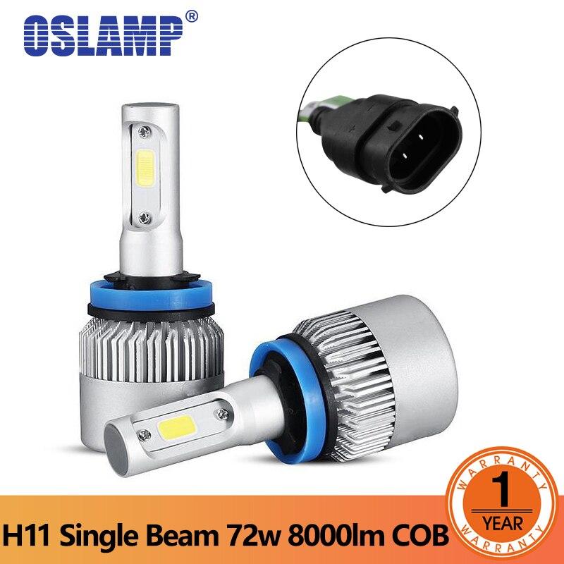 Oslamp S2 серии светодиодный фар H11 Светодиодный Bridgelux COB чипы фары автомобиля один луч лампы 7000LM 6500 К 12 В 24 В светодиодный авто