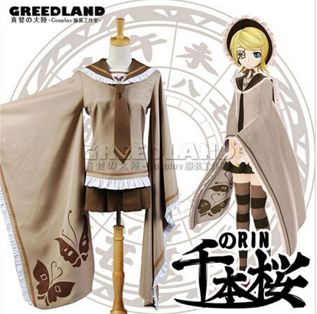 Newest Senbonzakura Vocaloid Kagamine RIN Cosplay Costume Cosplay Kimono Uniform  slipper