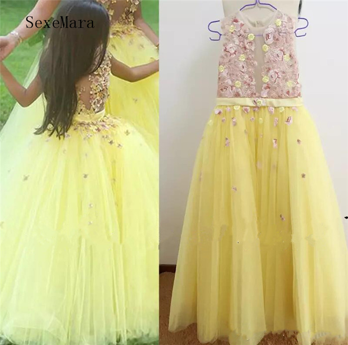 Real Picture Flower Girls Dresses Embroidery Lace Appliques Sheer Bodice Yellow Tulle Floor Length Little Girls Pageant Gown