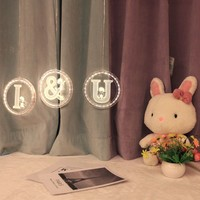 USB 3D Stereo Hanging Light Letters LED Night Light Creative Subtitles Logo Lights Indoor Hanging Wedding Party Decoration Lamp