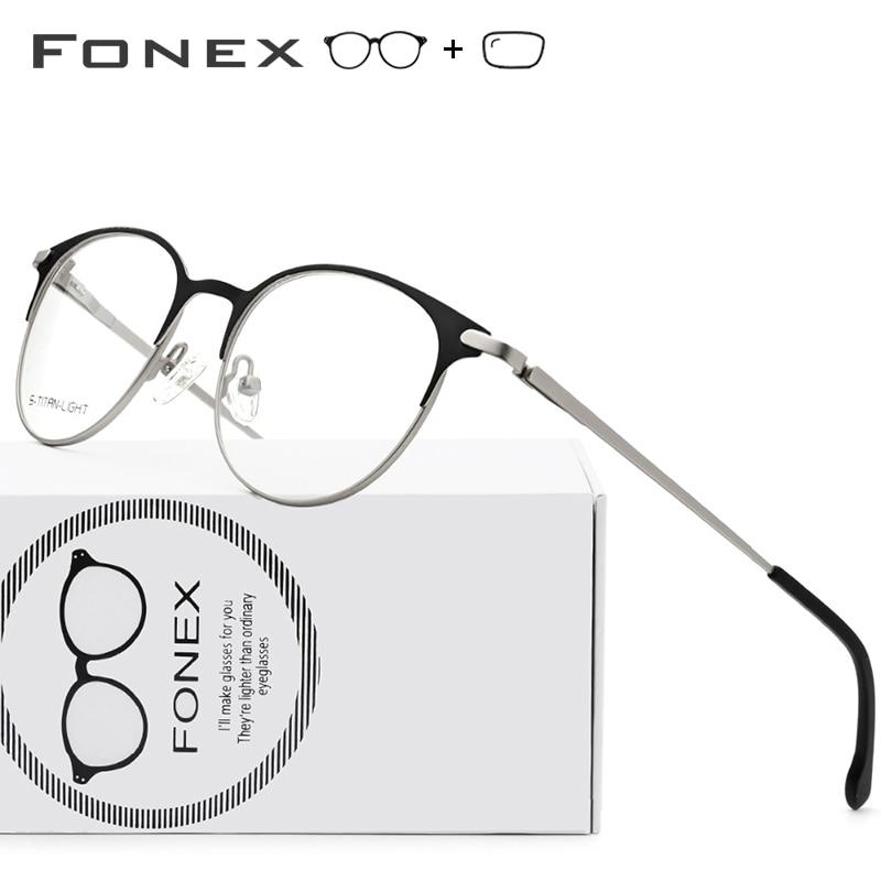 Titanium Alloy Prescription Glasses Frames Myopia Optical Men Women Vintage Round Eyeglasses Retro Screwless Eyewear with Lenses(China)