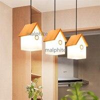 Casa moderna Decoração Da Casa De Madeira Pingente de Luz Luminária Estilo Nórdico Lâmpada Sala de estar Quarto Novidade Simples Luzes Pingente Luzes de pendentes     -