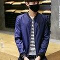 2016 Fashion Bomber Jacket Men Solid Zipper Pockets Baseball Collar Boys Active Jackets Man Slim Causal Windbreaker Coat Male