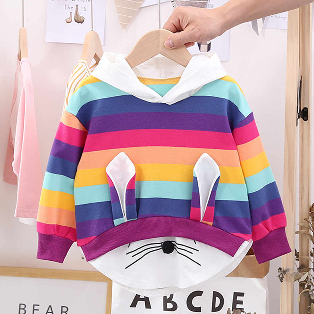 Sweatshirt For Infants Toddler Kids Hoodies Winter Baby Girl Striped Rainbow Cartoon Hooded Sweatshirt Pullover Tops Moletom New