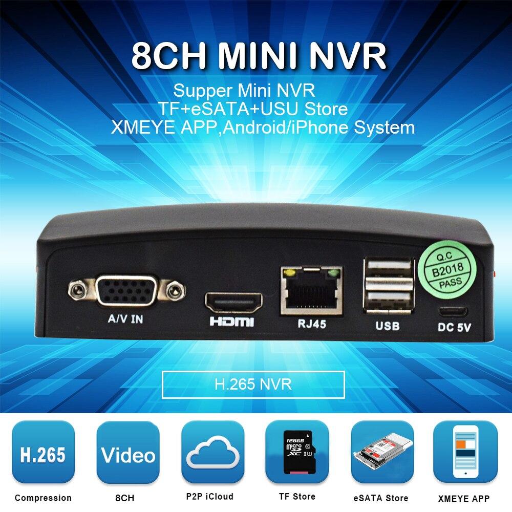 8ch мини NVR сетевой H.265 5MP Запись видео для видеонаблюдения Камера IP Камера Поддержка P2P eSATA TF слот USB Мышь удаленного Управление