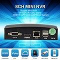 Mais novo 8ch mini nvr cctv nvr rede h.265 5mp gravador de vídeo para câmera cctv ip nuvem p2p esata tf usb controle remoto