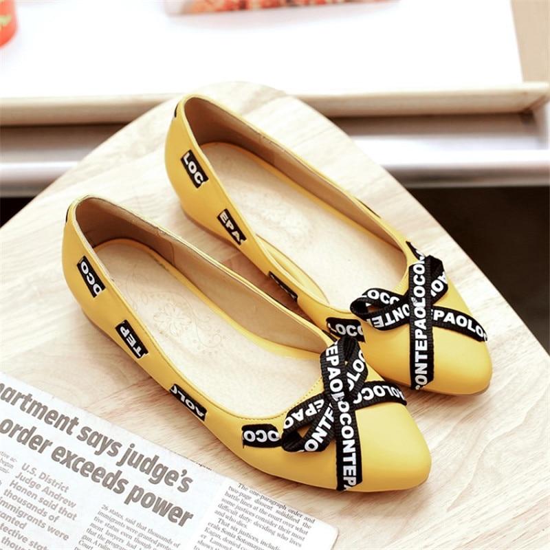 Peu Plat Cuir Rond Verni Maziao Sangle En Rose Glissement Bouche jaune Papillon blanc Profonde Sur Chaussures Tempérament Mode noeud Croix Bout xpgZw