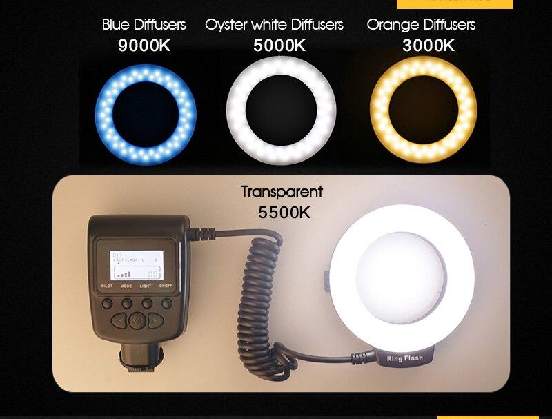 Travor RF 550D LED Macro Ring Flash light with 8 adapter ring For Nikon Canon Panasonic Camera 22