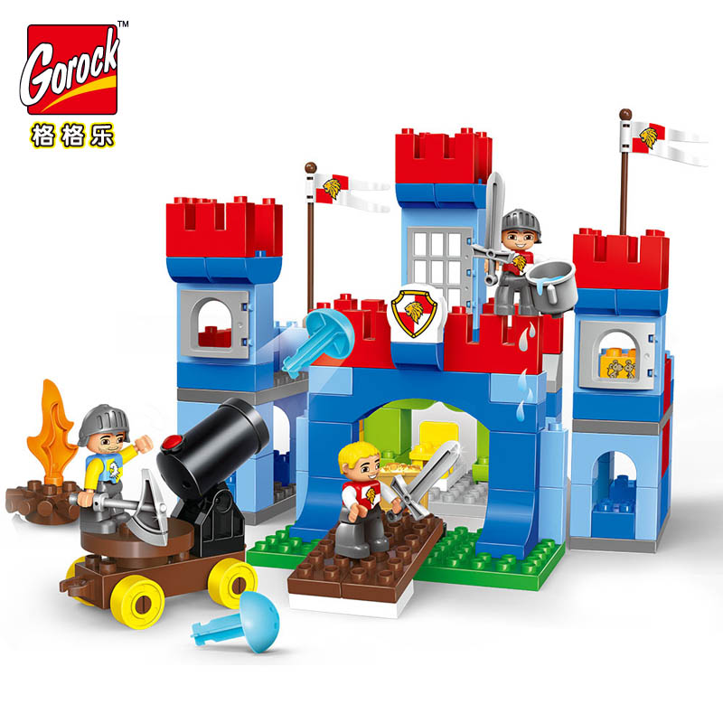 GOROCK 138 pièces gros blocs château grosses particules guerre blocs de construction briques compatibles avec éducatifs bébé ville jouets