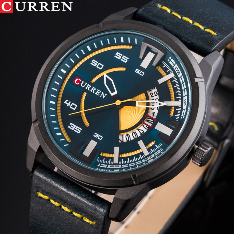 CURREN Watches Fashion Casual Men watch Sport Clock Male Military Quartz Wristwatch Leather Watch Relogio Masculino men s watches curren fashion business quartz watch men sport full steel waterproof wristwatch male clock relogio masculino