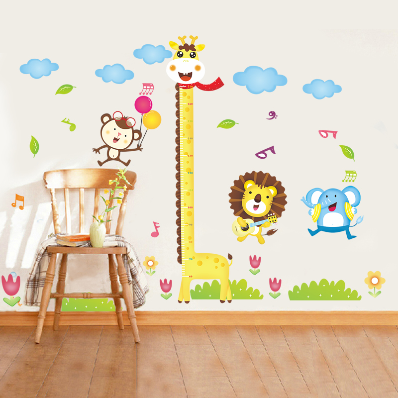 Small Animal Cartoon Giraffe Height Wall Stickers Kids