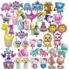1 шт. воздушный шар с рисунком поросенка, пчелы, коровы, мини-шар для детского душа, воздушные шары из фольги в виде животного для украшения вечеринки