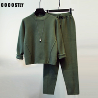 High Quality 2018 Women Tracksuit 2 two Pieces Set Knitted Pullover Sweaters Tops Long Sleeve Sweatshirt + Pants Women's Sets