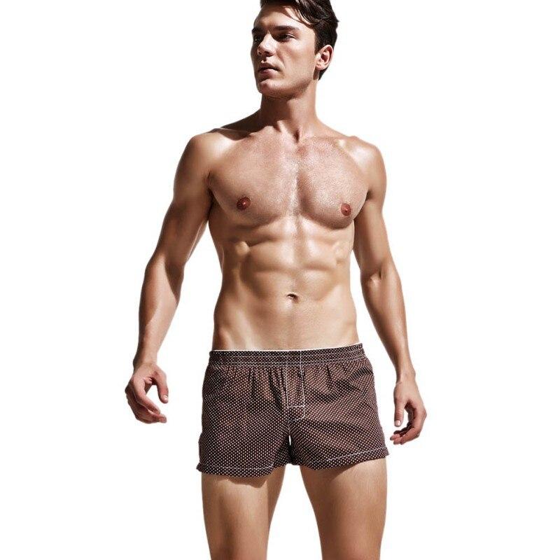 2017 Burst New Polyester-Cotton Low Waist Lattice Mens Flat Underwear Home Pajamas Pants Cool Trunks Six Colors
