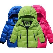 2017 New Children's Winter Jackets Whick Dock Down Boys Girl Child Short Thick Fashion Candy Color Hooded Boys Winter Jacket Gir