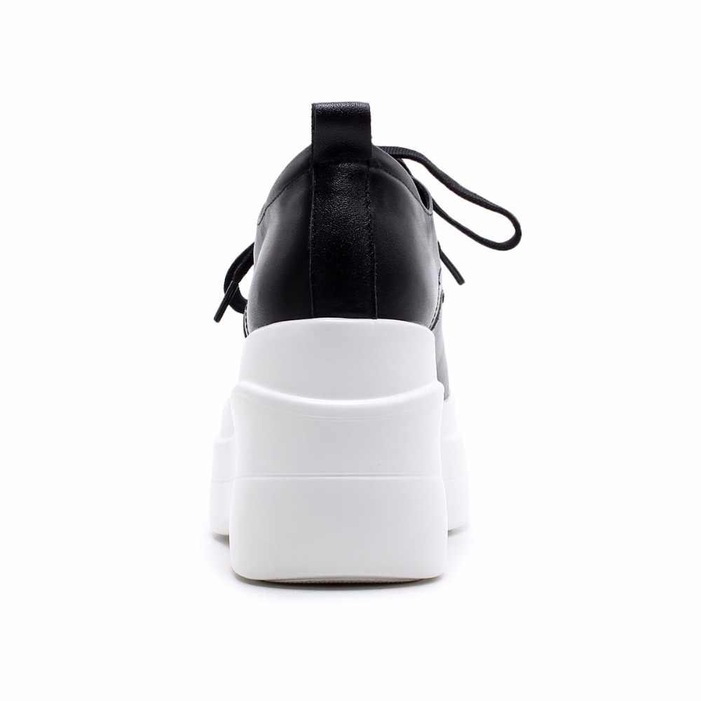 Arden Furtado 2019 neue stil schuhe frau echtem leder keile heels 8 cm flache plattform weiß casual schuhe kreuz- gebunden müßiggänger