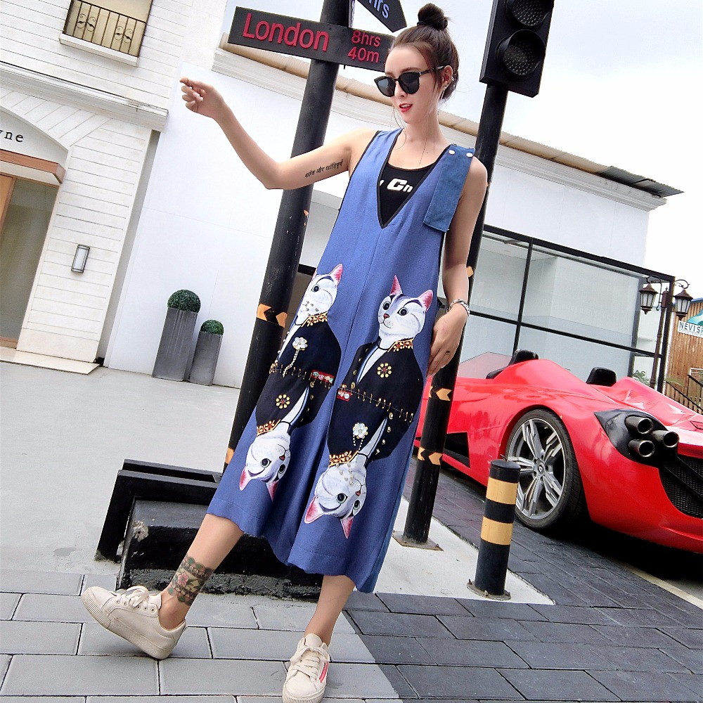 MUMUZI High Street Women Washed Denim Overalls Cute Cartoon Sequined Jean Rompers Wide L ...