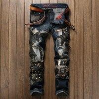Trendy designer mens jeans diritti sottili rivetti in pelle patchwork ricamo paillettes denim pantaloni strappati discoteca streetwear