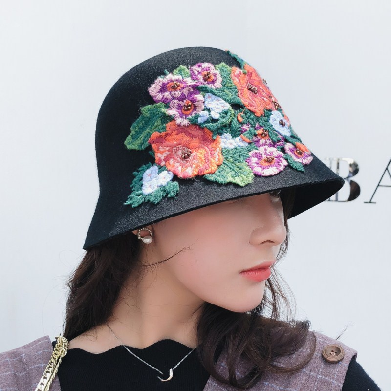 16051fd8 Seioum Autumn winter England retro Women Winter 100% Wool Felt Hats Lady  Party Formal Brim