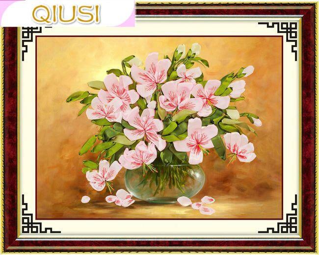 바느질, 중국어 리본 크로스 스티치 세트 자수 키트, 테이블 꽃병 백합 꽃 크로스 스티치 세공 홈 벽 장식