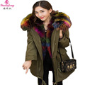2017 Plus Size Women Winter Jackets with Real Big Raccoon Fur Collar Hooded Down Pakas Long Duck Down Jacket Women Snow Coat