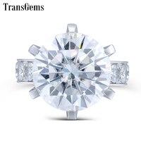 TransGems 10 карат Лаборатория Grown Moissanite кольцо с бриллиантом 14 K White Gold Модные Украшения Кольца для женская свадебная Обручение Jewellery