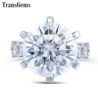 TransGems 10 Carat Lab Grown Moissanite Diamond Ring 14K White Gold Fashion Jewelry Rings for Woman Wedding Engagement Jewellery