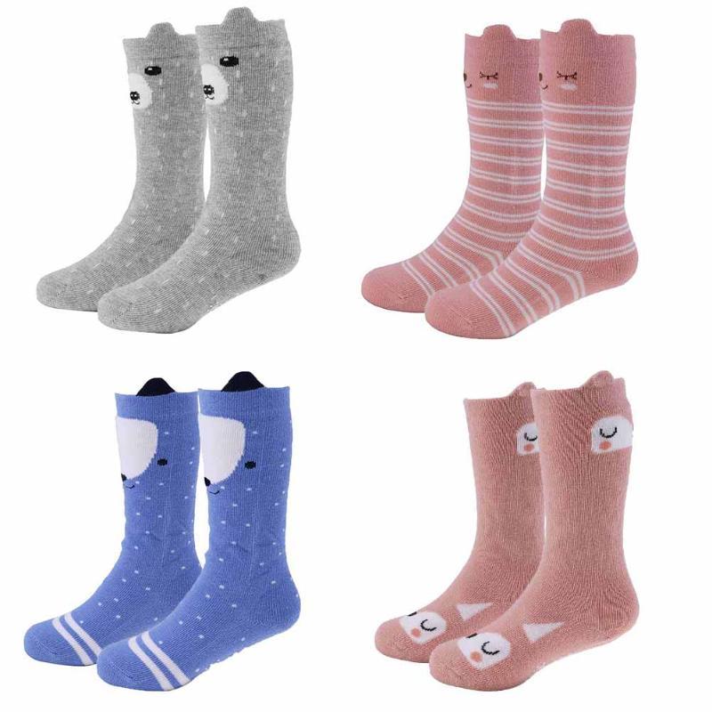 2017 Autumn Winter Korean Children Baby Socks Middle Length Cartoon 3D Ears Antiskid Floor Socks for Girls
