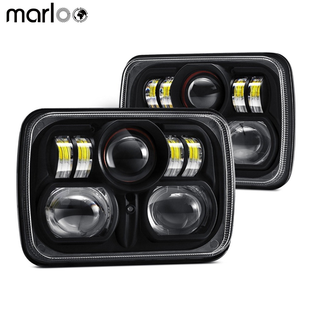 Marloo Car 5X7 6x7 inch High Low Beam Led Headlights for Jeep Wrangler YJ Cherokee XJ H6054 H5054 H6054LL with Parking Light marlaa 7x 6 5 x 7 inch black projector led headlights for jeep wrangler yj cherokee xj h6054 h5054 h6054ll 69822 6052 6053