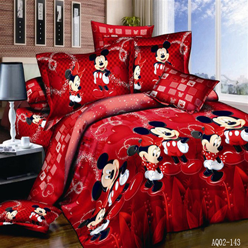 100% Katoen Rode Kleur Mickey Mouse Quilt / Dekbedovertrek Platte Sheet Twin Volledige Queen Kingsize Bed Linnen kussenslopen Beddengoed Set 3 stks / 4 stks