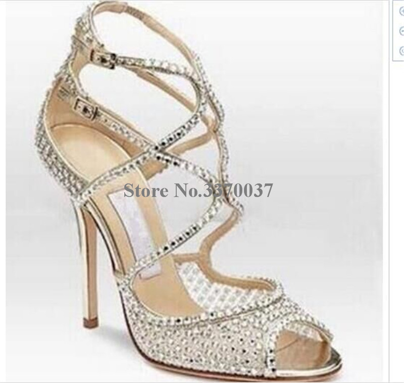 Frauen Luxus Bling Bling Offene spitze High Heel Hochzeit Schuhe Sandalen Bügel kreuz Kristall Gladiator Sandalen Formelle kleidung Schuhe-in Hohe Absätze aus Schuhe bei  Gruppe 2