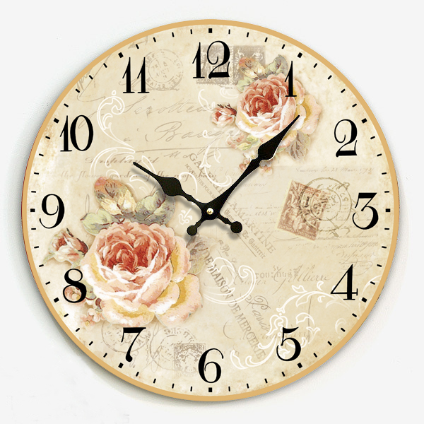 Exceptionnel 34cm Modern Design Clock To Wall For Kitchen Bedroom Electronic Rustic  Large Wooden Wall Watches Home