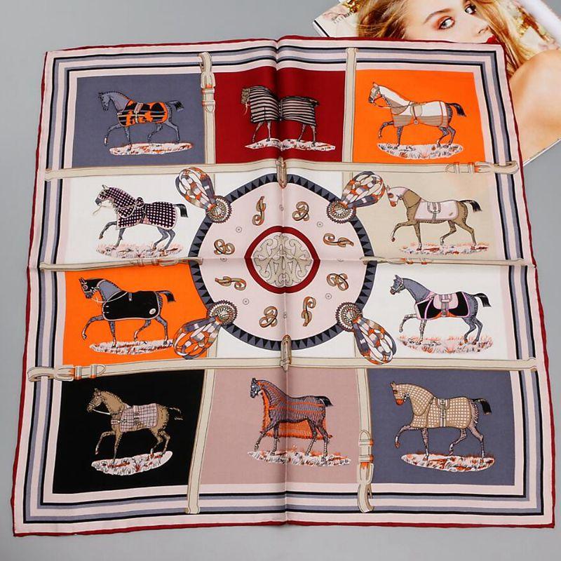 HANSCARF Horse Printed 100% Silk Twill Scarf, Women Ladies Quality Hand Rolled Small Square Silk Scarfs Necktie Bag Scarf 55cm
